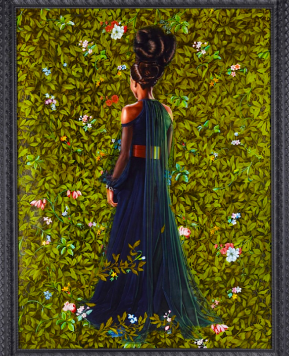 Kehinde Wiley: This group of paintings represents a significant departure from Wiley's previous subject matter by depicting African-American women, his first-ever series dedicated to female subjects.   The models for the paintings were cast on the streets of New York City.   Their poses are based on historical portraits of society women.   Custom-made couture gowns were created specifically for each of the models by Riccardo Tisci of Givenchy.