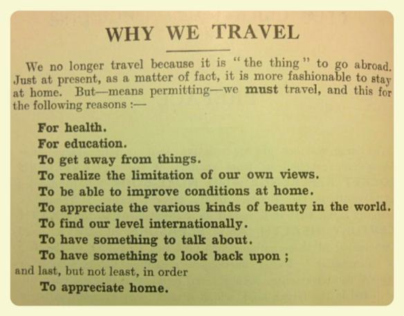why we travel  - 'Traveller's Pocket Reference' 1932