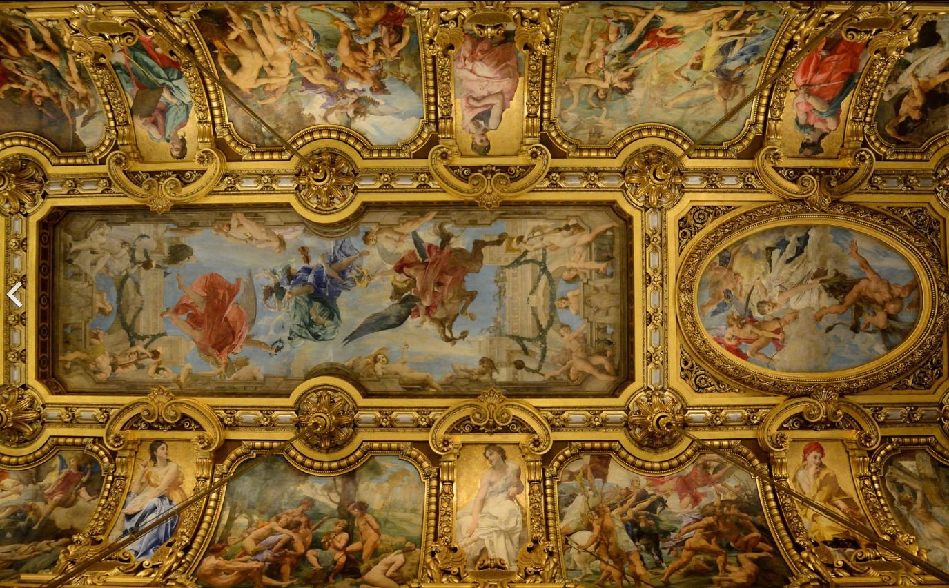 Grand Foyer Ceiling : Ceiling of the grand foyer at opéra garnier paris